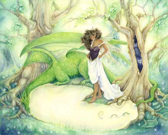 Sale Fantasy Art Watercolor Print Dragon S Pool Fantasy