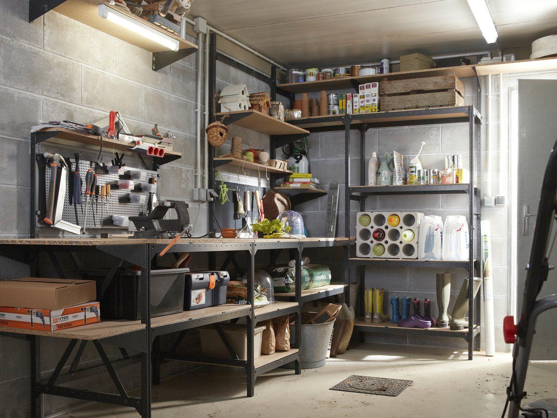 Organiser L Espace Rangement Dans Son Garage Etagere Acier Decoration Maison Etagere Metal