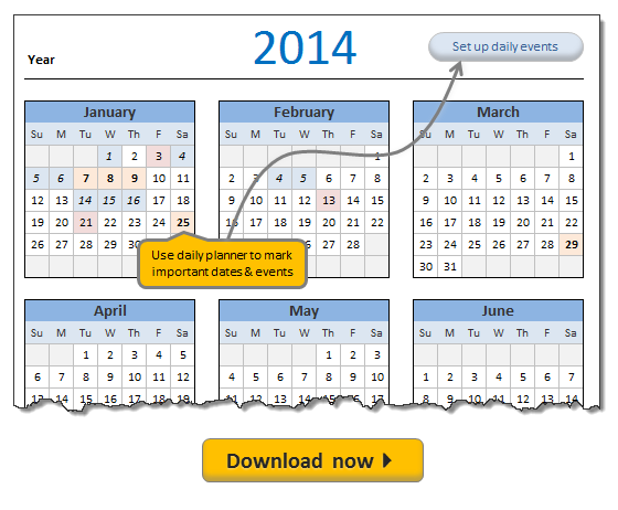 Free Calendar And Daily Planner Template 2014 Organize 0