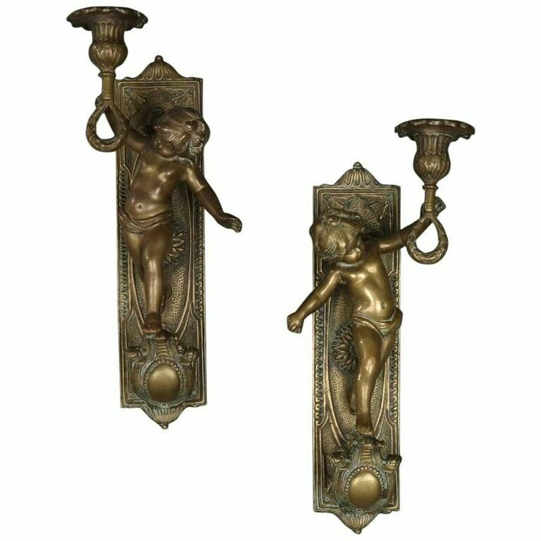 Pair of Large French Antique Figural Bronze Cherub Wall Sconces, 19th Century.