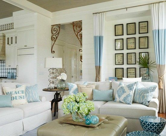 beige blue and white beach house decor living room
