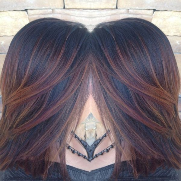 Amber Copper Red Auburn Ombre Weave With Balayage On Black Hair By Amber Brown Auburn Hair Dark Auburn Hair Color Hair Styles
