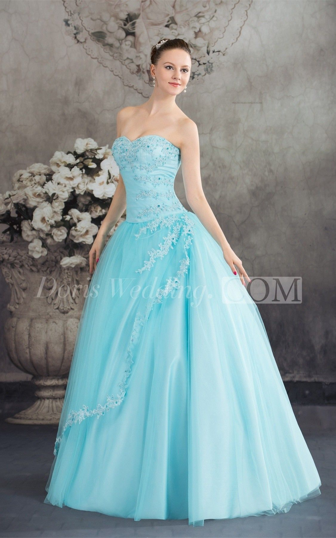 Sleeveless A-Line Tulle Corset Back and Ball-Gown With Beading ...