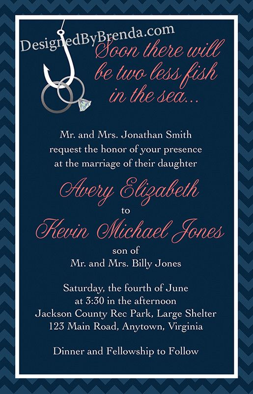 Two less fish in the sea wedding invitation with rings on for Fishing wedding invitations