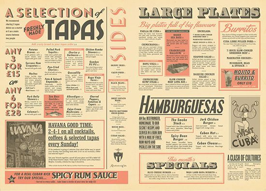 cuban food drinks menu design newspaper menu graphic design