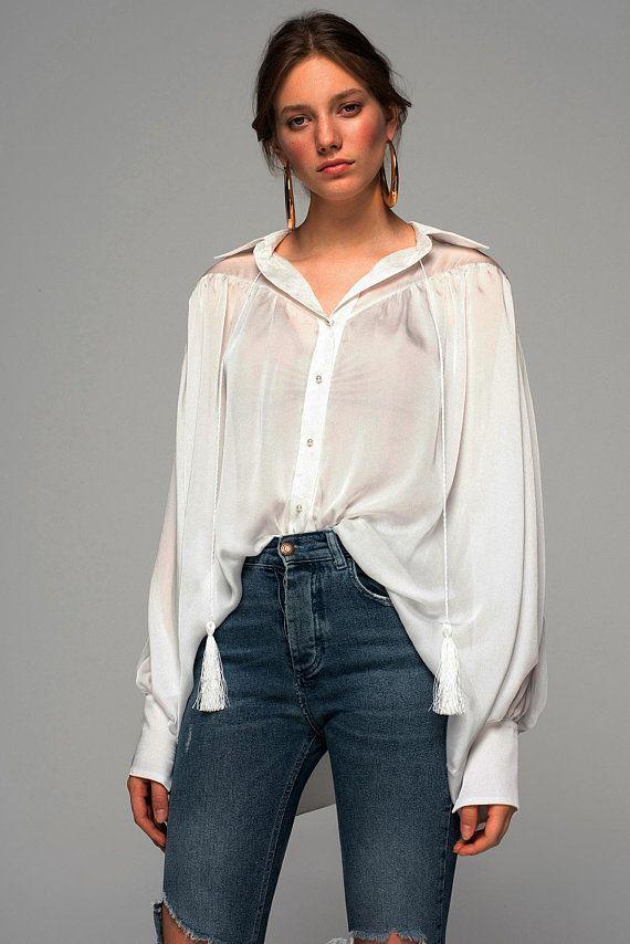 ef903d4e5a1 silky shirt. white shirt. long sleeve shirt. bohemian shirt. loose shirt.  romantic shirt. womens shi
