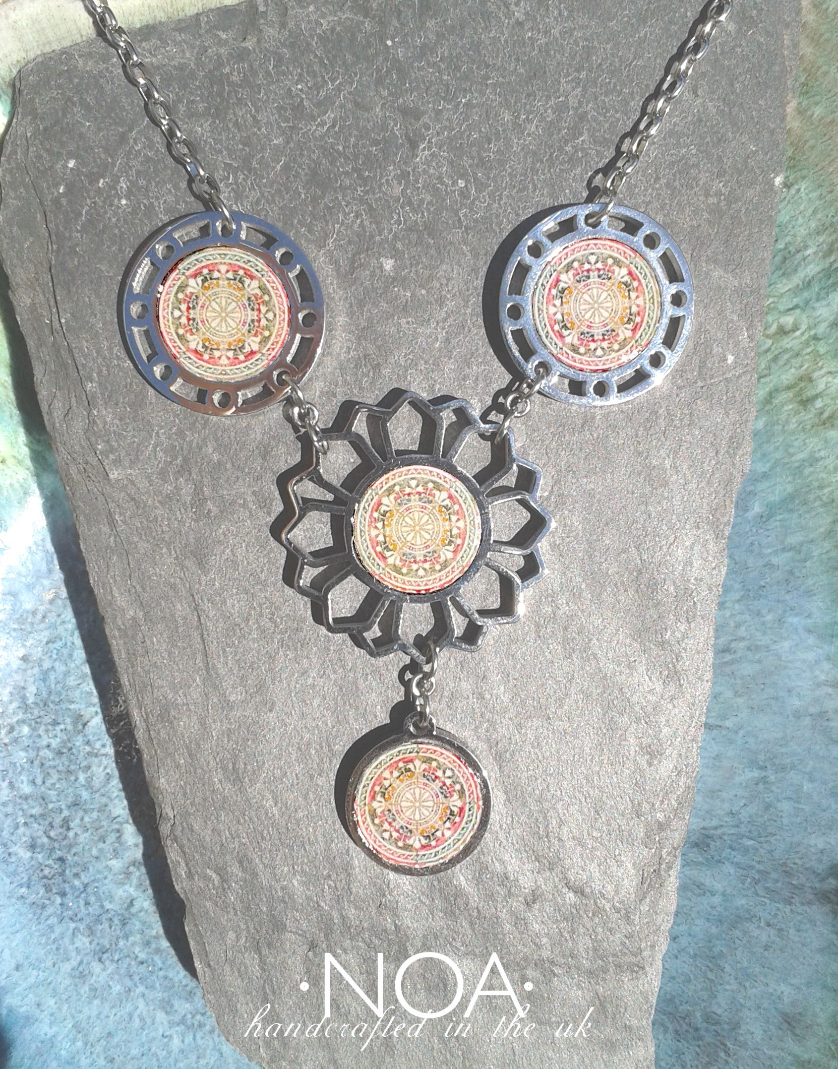 NOA Jewellery stainless steel & decorated walnut flower and three circles ('17 ST324 #04). www.noajewellery.com