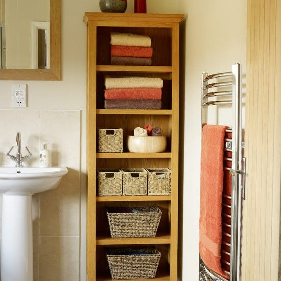 Oh Yes But I Will Have Mine White And Distressed Line Shelves With Wicker Baskets Basket Case Pinterest Bathroom Storage