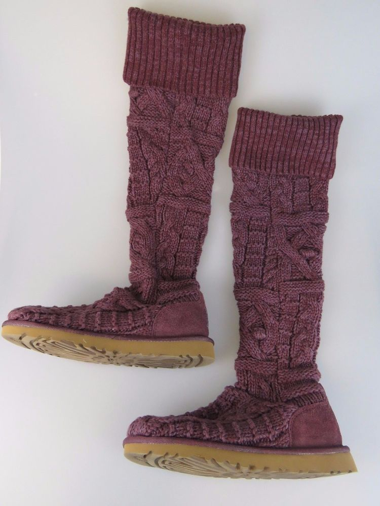 85dcbb39d7e UGG 3174 Purple Burgundy Over the Knee Twisted Cable Knit Boots ...
