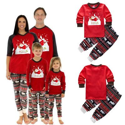 bd2175ef2a Family Matching Christmas Pajamas Set Women Baby Kids Santa Sleepwear  Nightwear