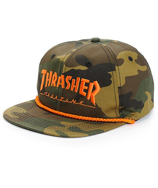 Customize your kit with this canvas snapback hat that features an allover  camo print contrasted by a bright orange Thrasher embroidery at the front  and rope ... 408df708f12