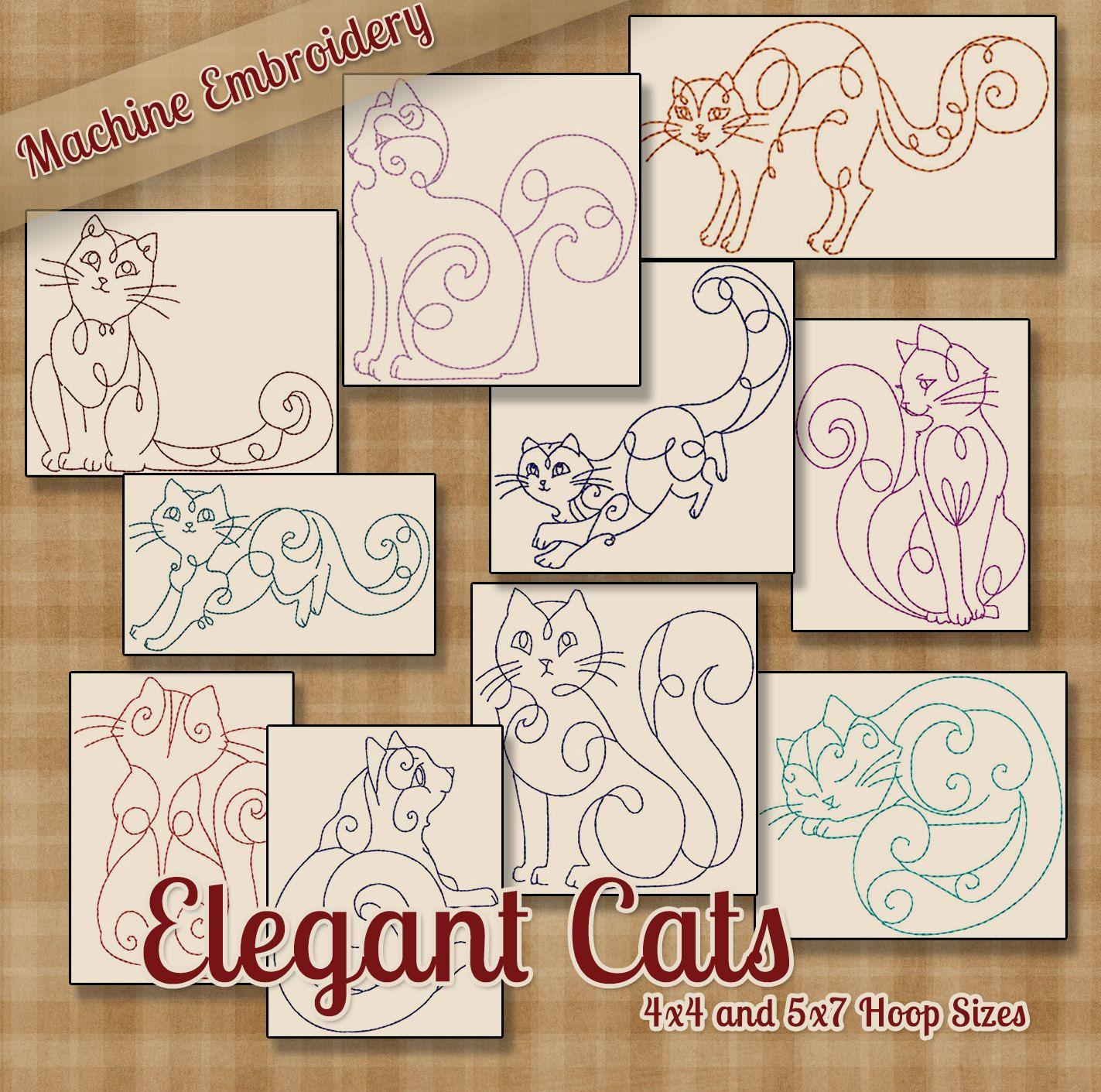 Redwork Elegant Cats Machine Embroidery Patterns / Designs
