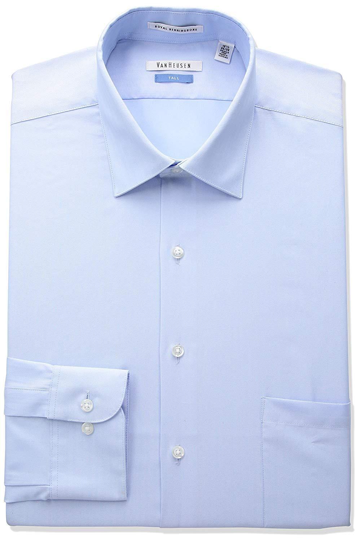 c50418321788 Van Heusen Men's Big and Tall Herringbone Tall Fit Solid Spread Collar  Dress Shirt