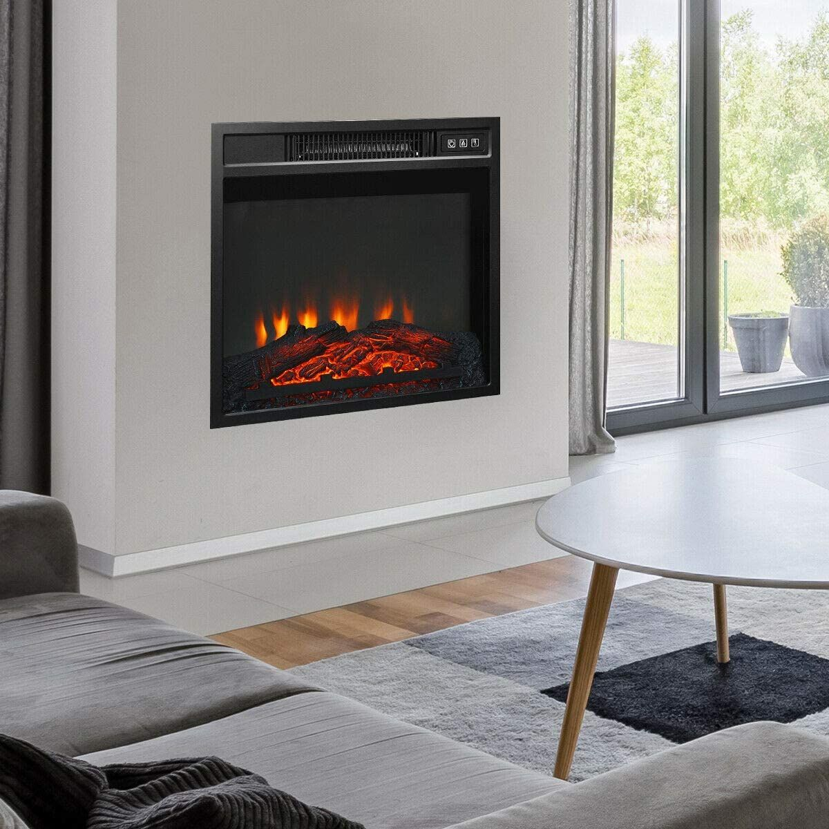 Kovalenthor 18 Electric Fireplace Freestanding Wall Mounted Heater Log Flame Multicolor Led Flame In 2020 Wall Mounted Heater Best Space Heater Free Standing Wall