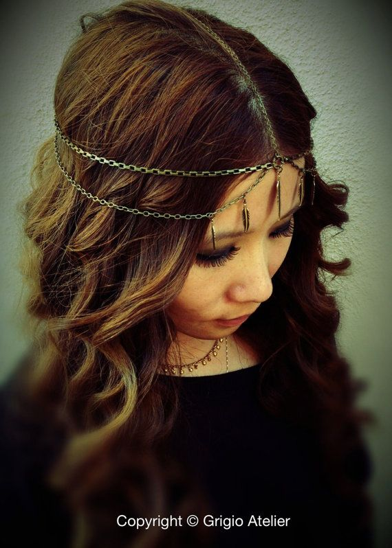 NEW  Pocahontas Chains HeadPiece  Antique Gold American by grigio, $39.00