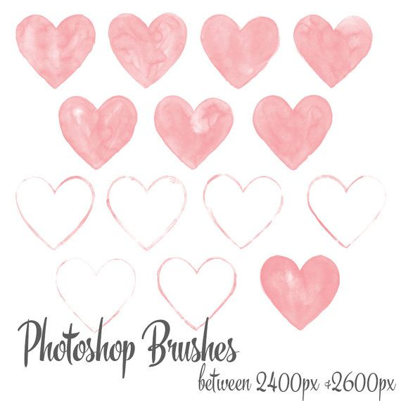 Watercolor Heart Photoshop Brush Set Valentine S By Wpatelier