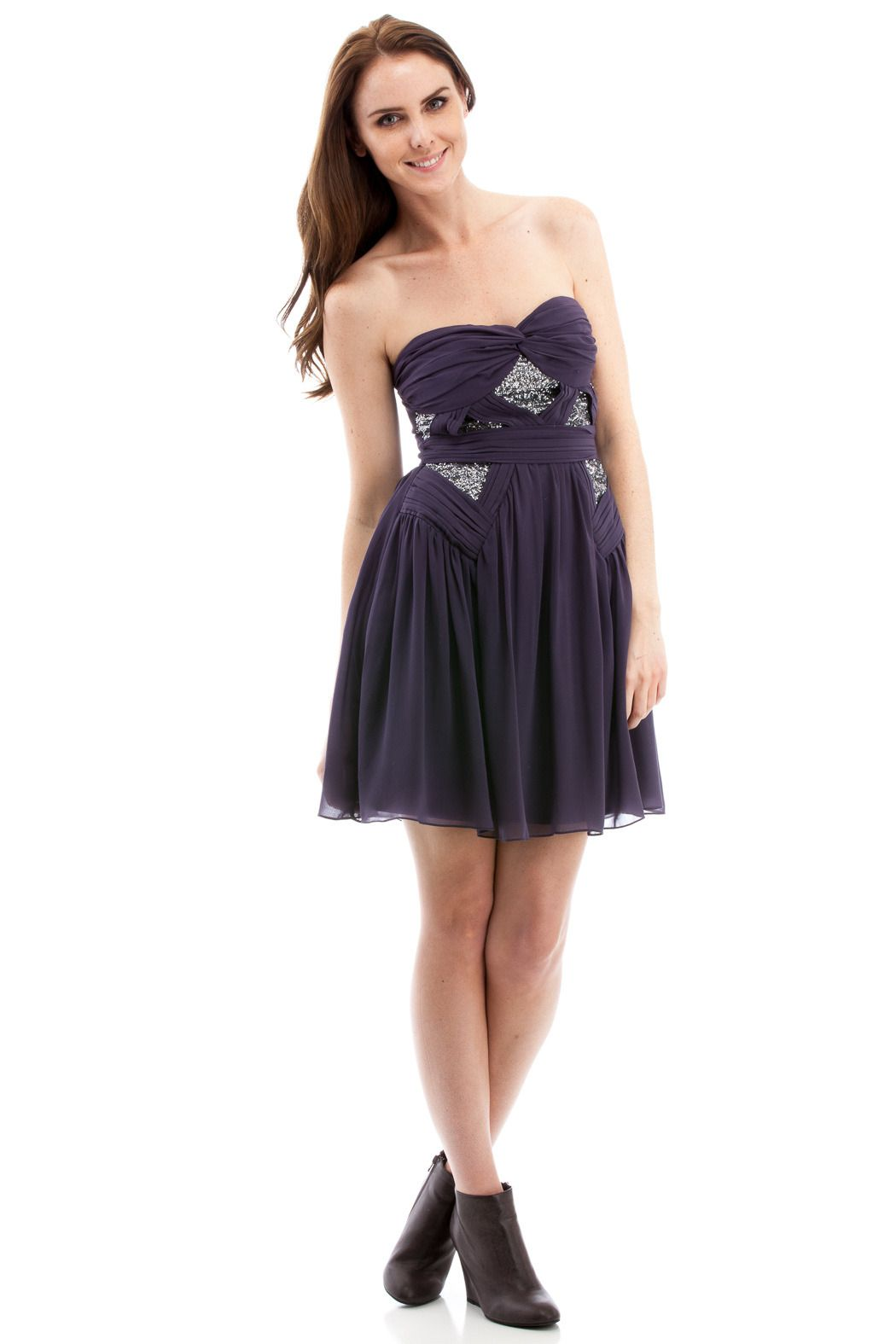 Silver Sequin Strapless Party Dress