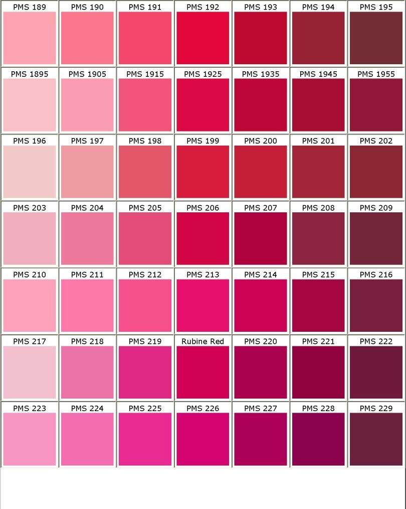 Agreable Nuancier PANTONE Rose/rouge/violet