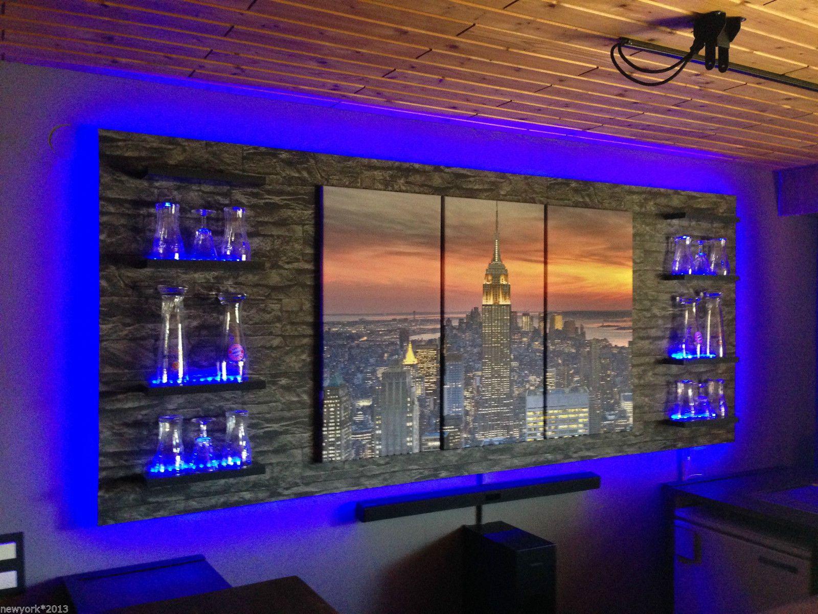 wandboard bar lounge theke partyraum led beleuchtet. Black Bedroom Furniture Sets. Home Design Ideas