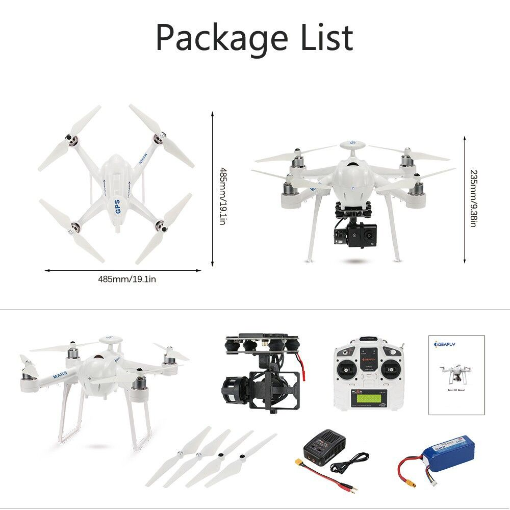 High Quality Original Ideafly Mars 350 2 4ghz 6 Axis Gyro One Key Return Poi Mode Function Rtf Rc Quadcopter With Gimbal Quadcopter Rc Quadcopter Gopro Hero 3