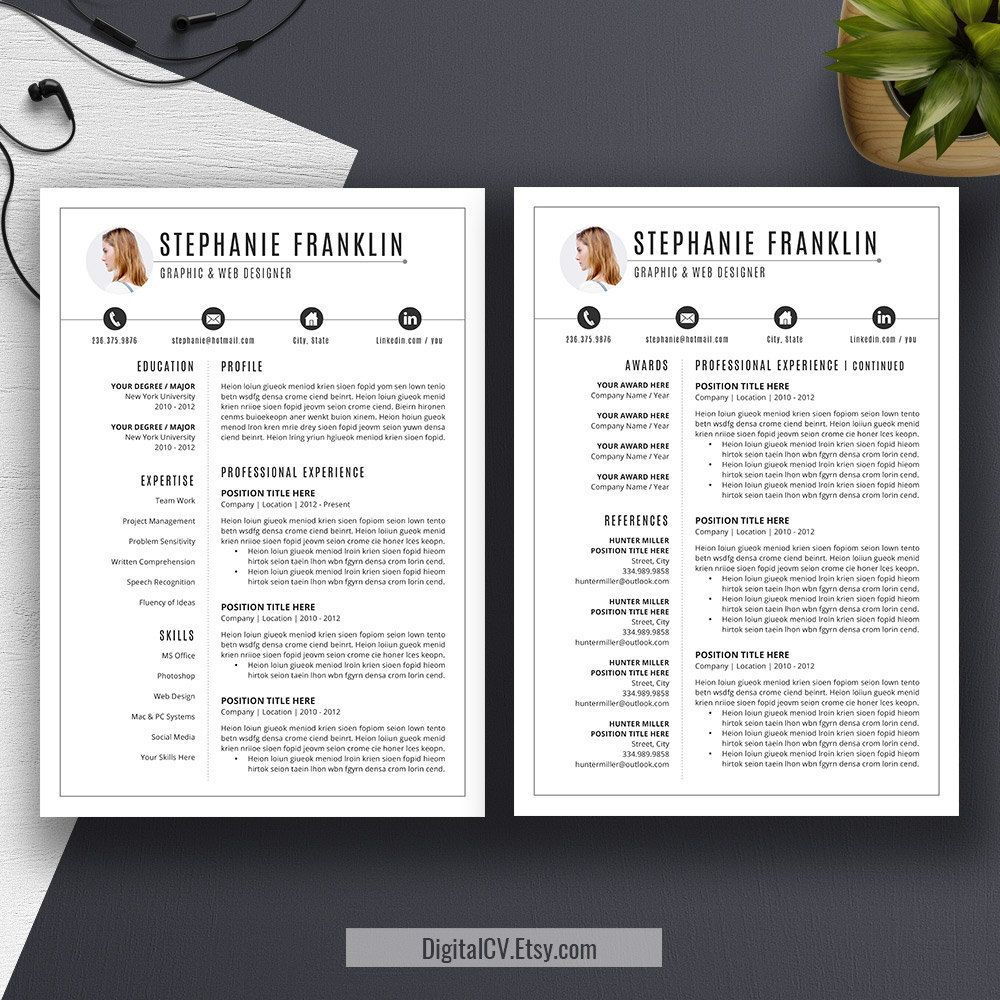 Professional Resume Template Cover Letter US Letter A4