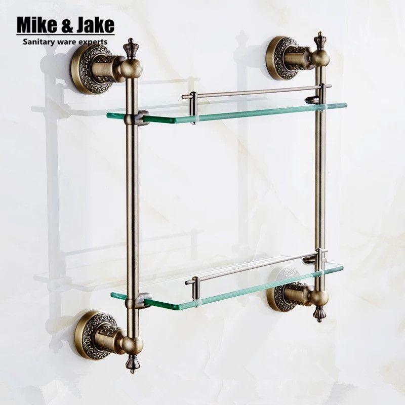 Bathroom Antique Bronze Double Glass Shelf Brass Shower Holder