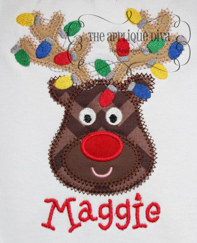 Christmas Reindeer With Lights Digital Embroidery Design Machine