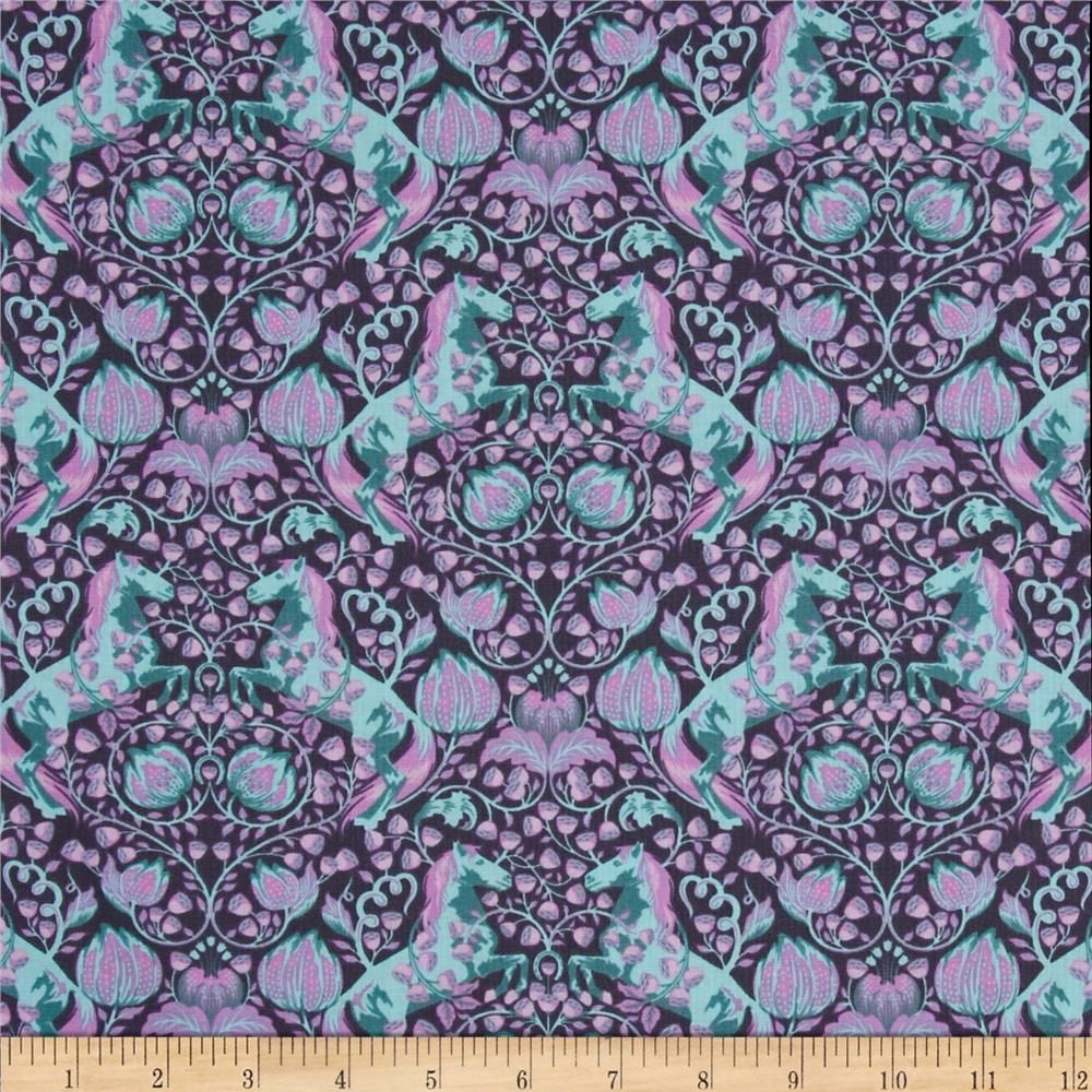 Designed by Tula Pink for Free Spirit, this cotton print is perfect for quilting, apparel and home decor accents.  Colors include dark violet, orchid, aqua and teal.