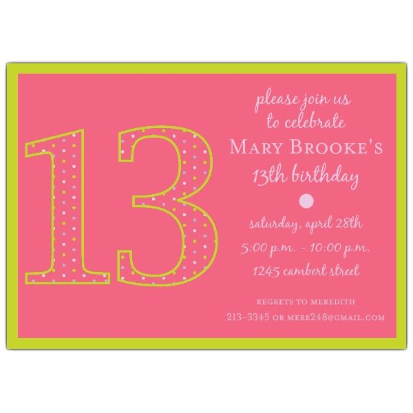 13th Birthday Girl Dots Invitations Sydney Pinterest – Birthday Invitations Sydney