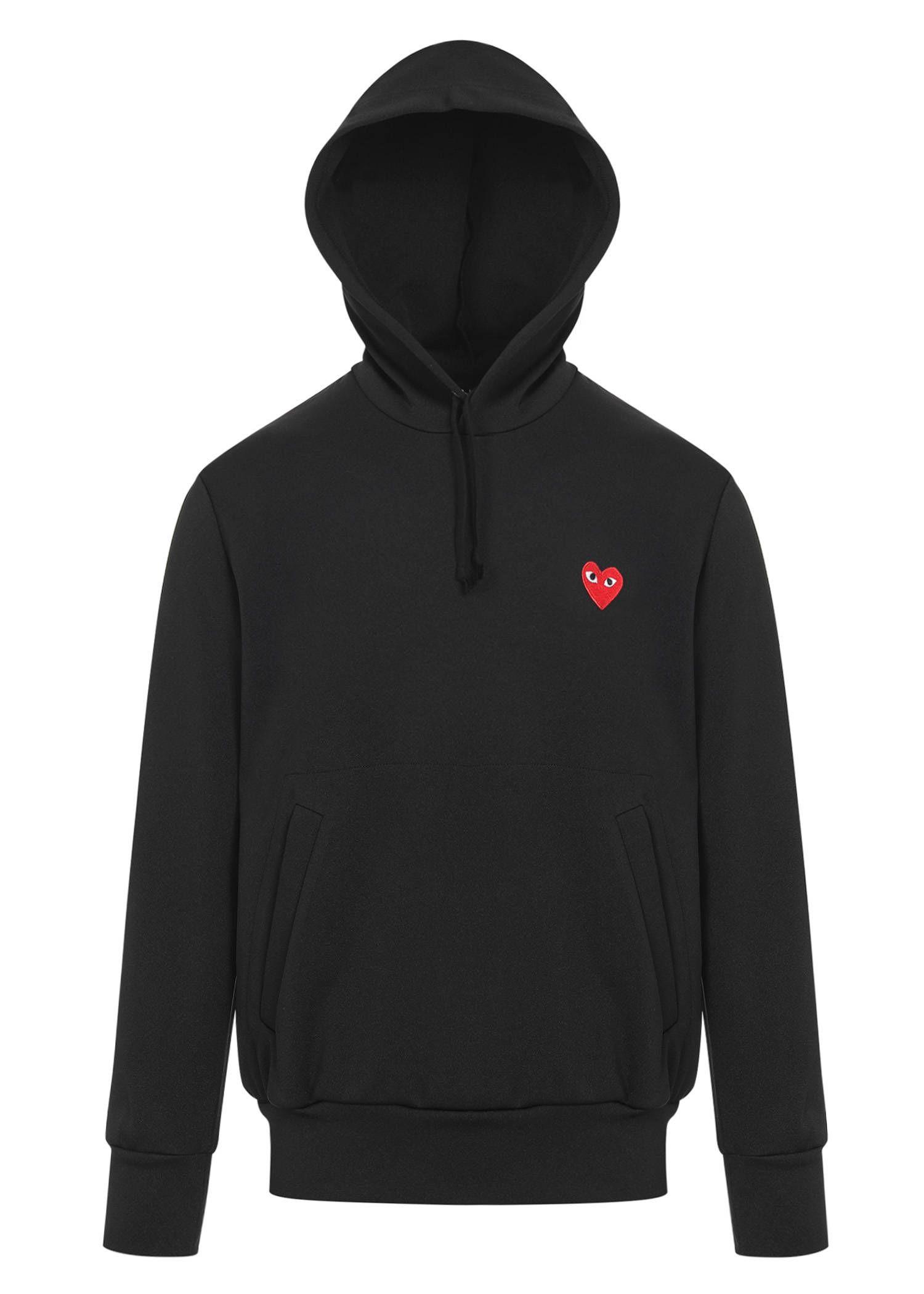 COMME DES GARÇONS PLAY Red Heart Patch Hooded Sweatshirt. #commedesgarçonsplay #cloth #