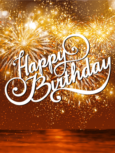 Beautiful Sunset Fireworks Happy Birthday Card Is Your Loved One