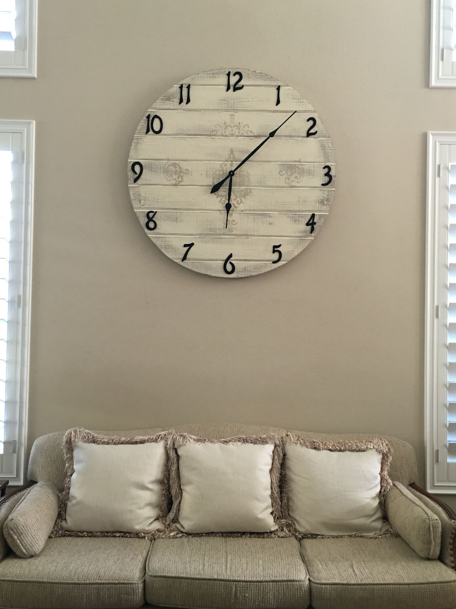 DIY HUGE Wall Clock 38 inches Made with shiplap house numbers