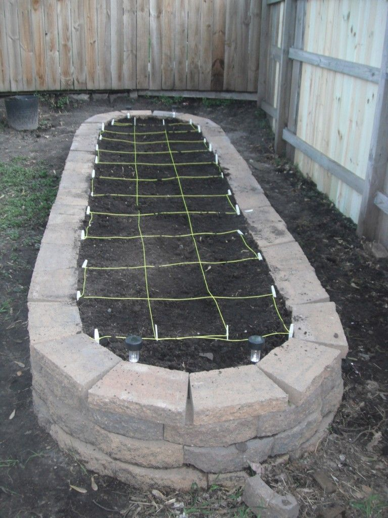 Square foot garden with twine to define the squares had