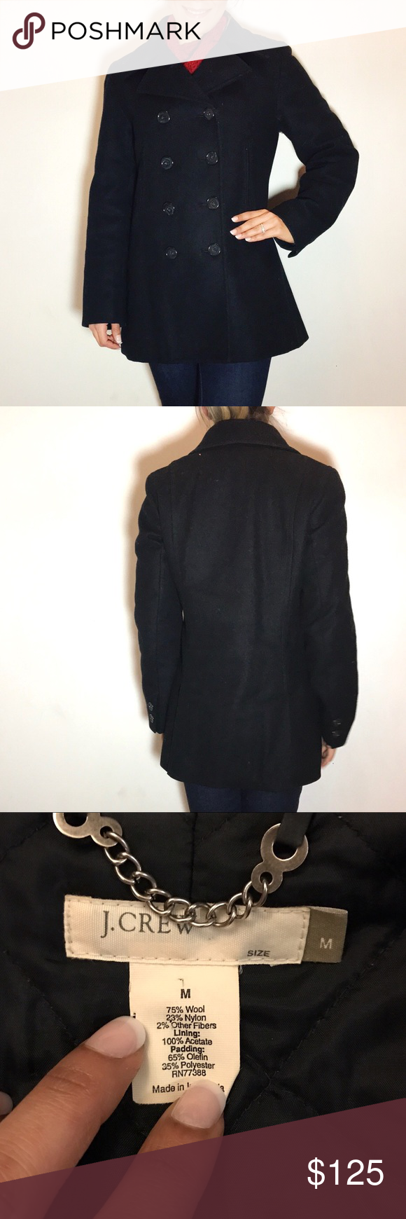 🚨SALE🚨J. Crew Black Wool Peacoat J. Crew Black Wool Peacoat -Size M. -Falls below hips. -Thinsulate super warm lining.  -Double breasted. -Great condition, some very small rips in the lining, as shown in the last picture. Can post up close pictures upon request.  NO Trades. Please make all offers through offer button. J. Crew Jackets & Coats Pea Coats