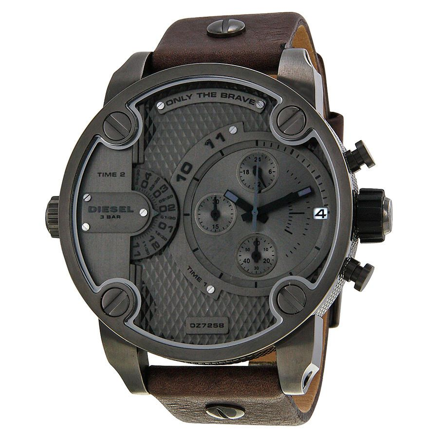 ac5307e7b Diesel Only The Brave Chronograph Dual Time Zone Dial Brown Leather Mens  Watch #Diesel