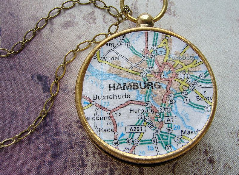 pass Map Necklace Hamburg Germany custom map choose your city