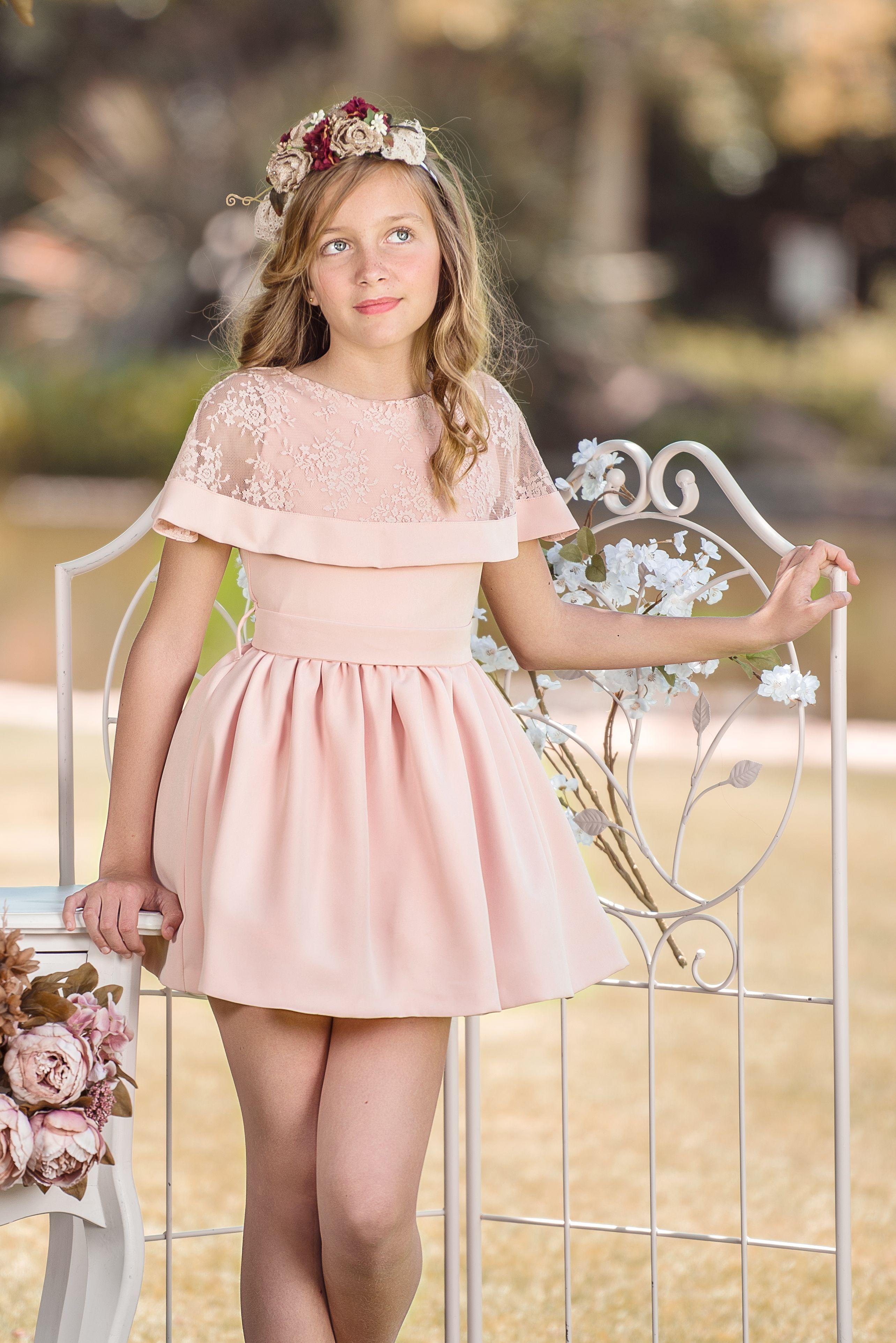 Vestido De Niña Para Ceremonia Rosa En Tejido Bioelástico