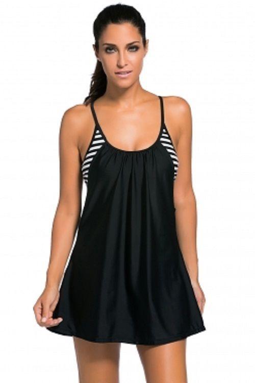 5e1a63e6e06fe Plus Size Black Flowing Swim Dress Layered 1pc Tankini Top XL-3XL   Unbranded  Tankini