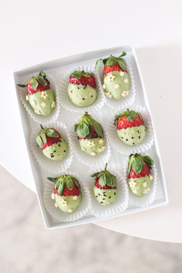 Matcha White Chocolate Dipped Strawberries Vegan Gluten Free Veggiekins Blog Recipe Chocolate Dipped Strawberries Matcha White Chocolate Strawberry Dip