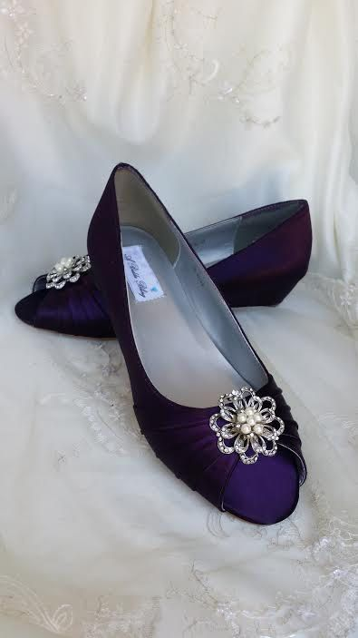 High Quality Wedding Shoes Eggplant Purple Wedge Shoes Purple Bridal Wedges With Pearl  And Crystal Flower Brooch   Pick FROM OVER 100 COLORS