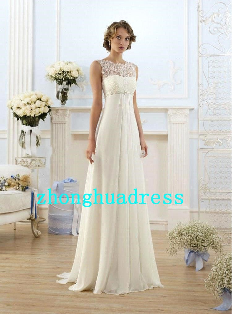 7e4862835c654 White Ivory Chiffon Wedding Dress stock Size 6-8-10-12-14-16-18-20 ...