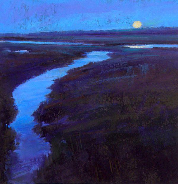 Ed Chesnovitch, landscape pastel painting, Cape Cod, East Sandwich, Provincetown, moon, salt marsh, ocean, blue
