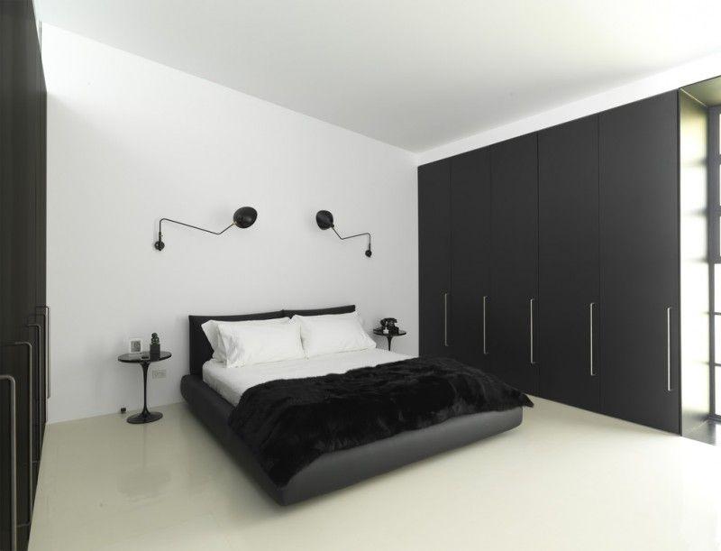 Black And White Bedroom Serge Mouille 1 Curved Arm Rotating Sconce Saarinen End Table Flat Black Closet Black Blanket Kamar Tidur Minimalis Kamar Tidur Modern