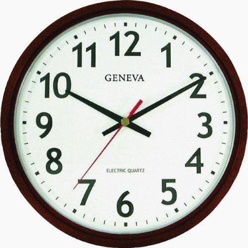 Geneva Brown 14 Inch Electric Quartz Wall Clock Great Looking Clock Office Wall Clock Black Wall Clock Wall Clock