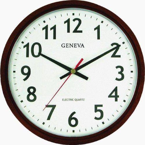 Geneva Brown 14 Inch Electric Quartz Wall Clock Great Looking Clock Office Wall Clock Black Wall Clock Wall Clock