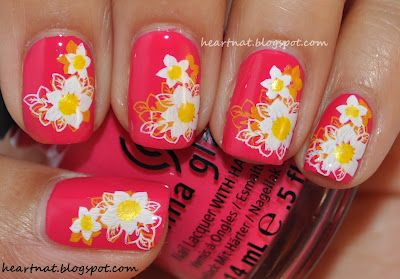 I used China Glaze Wicked Style and stamped using Konad M82 first in Konad Yellow and then with same image, stamped over it in Konad White.