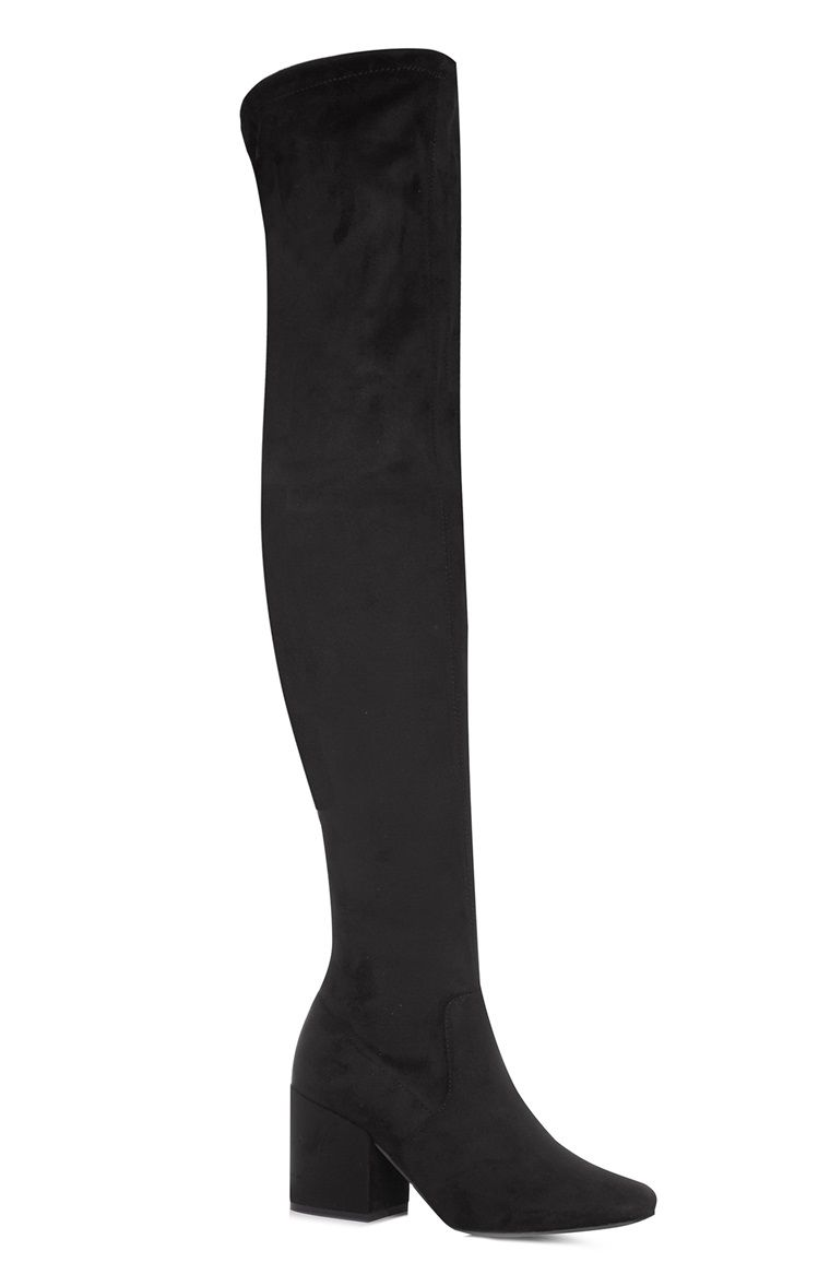 45f6b6e350b2 Primark - Black Faux Suede Over The Knee Boot