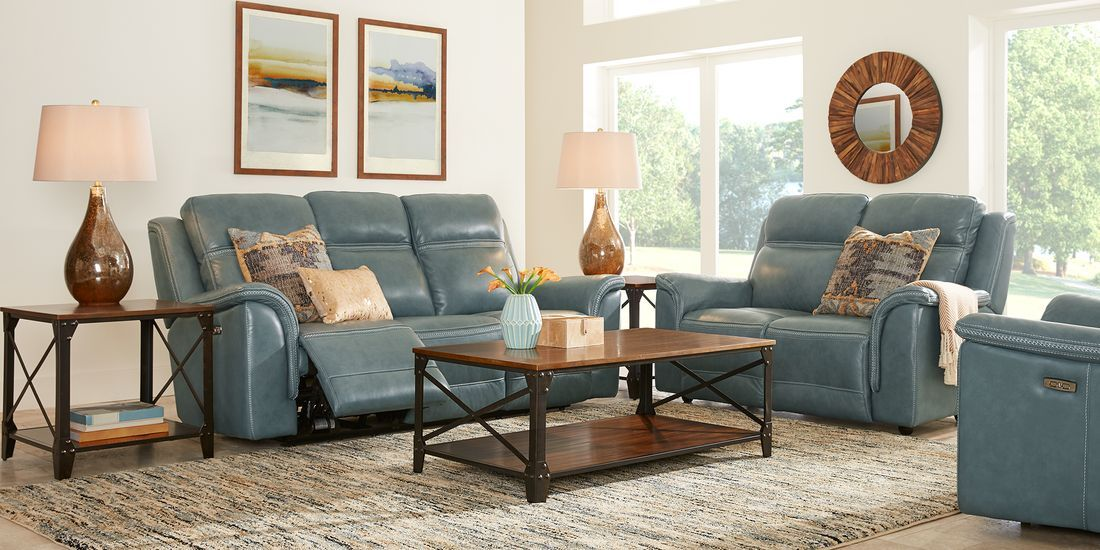 Barcaccia Blue Leather 3 Pc Living Room Rooms To Go Living