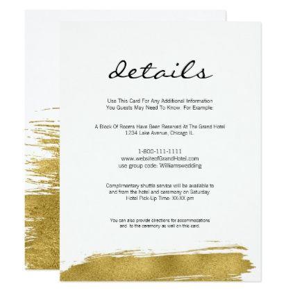 Modern Faux Gold Brushstroke Wedding Details Card Zazzle Com Wedding Details Card Typography Wedding Invitations Wedding Details