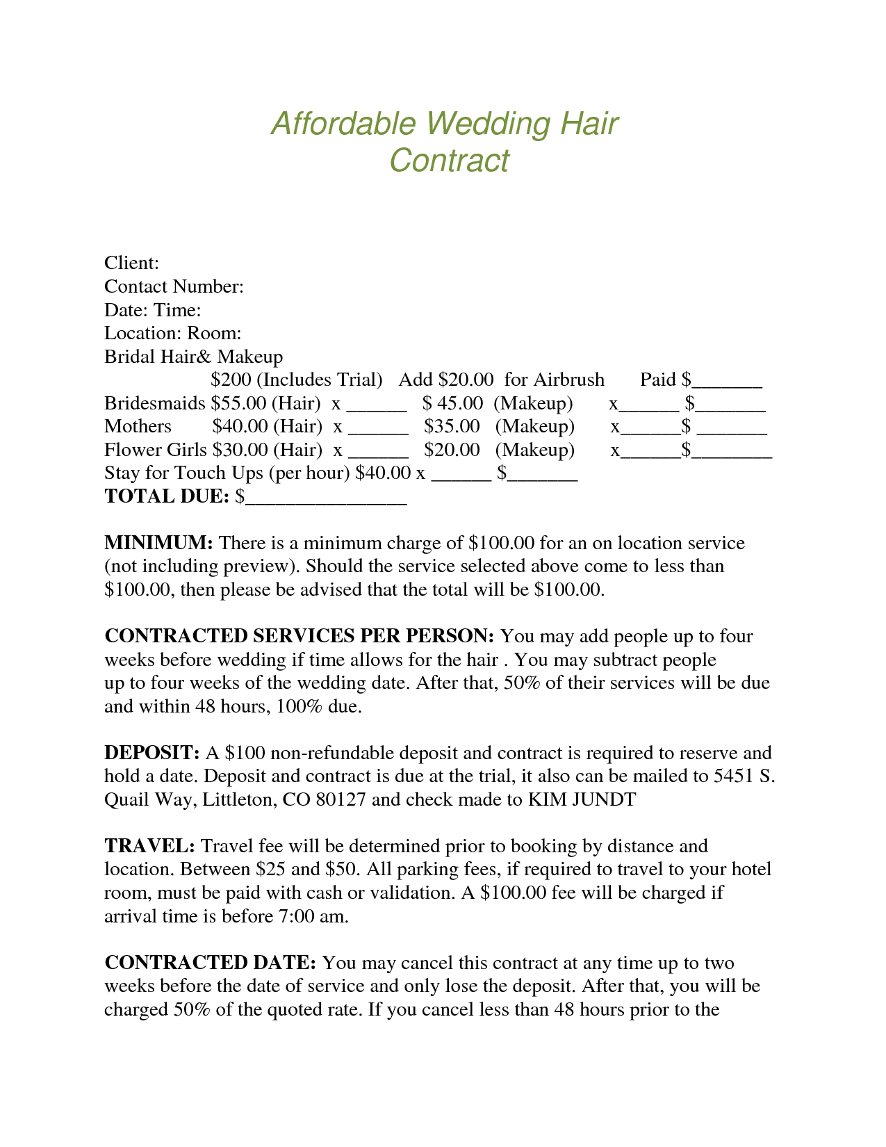 bridalhaircotract | affordable wedding hair contract client